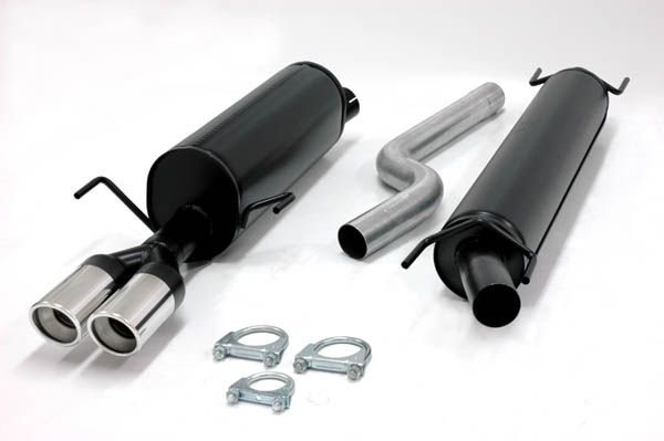 Simons aluminisierte Stahl Auspuffanlage 2x80mm rund Opel Astra G Limousine/Stufenheck 1.4/1.6/1.8/2