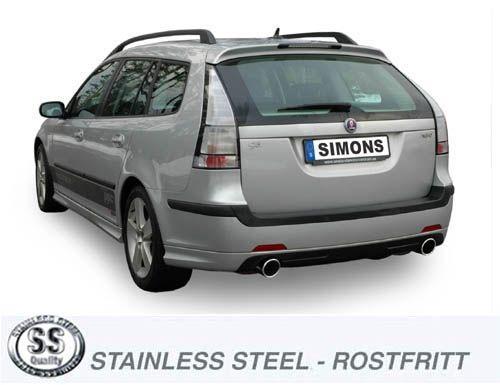 Simons Duplex Edelstahl Anlage 1x100mm rund Saab 9-3 2.8T/2.0T-Aero Sport Lim./Sport Car./Sport Cabr
