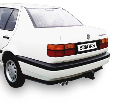 Simons aluminisierte Stahl Auspuffanlage 2x70 mm rund für VW Vento 1.4/1.6/1.8/1.9D/1.9TD/1.9TDI/2.0