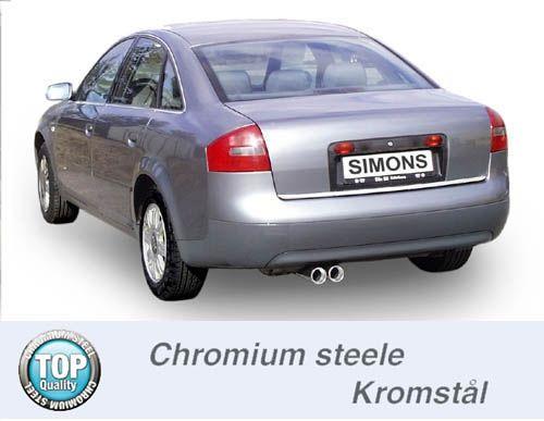 Simons Chromstahlanlage 2x80 mm rund für Audi A6 (C5) Limousine/Avant 1,8T/1.9TDi/2.5TDi Baujahr 97-