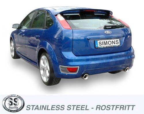 Simons Duplex Edelstahl Auspuffanlage 1x100 mm rund für Ford Focus ST 225PS Baujahr 06-
