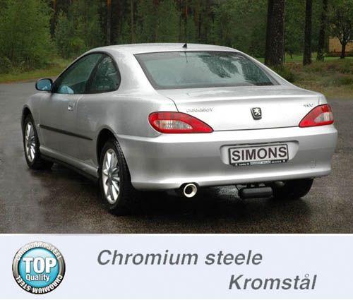 Simons Chromstahl Auspuffanlage 1x100mm rund Peugeot 406 Limousine/Coupe 3.0 V6 Baujahr 96-
