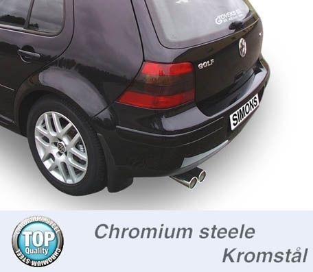 Simons aluminisierte Stahl Auspuffanlage 2x80 mm rund für VW Golf IV Turbo 1.8T/1.9TDI/1.9SDI Baujah