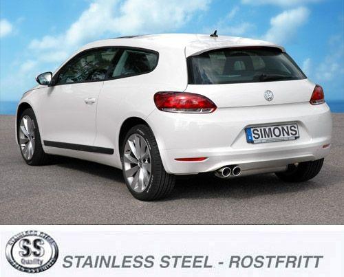 Simons Edelstahl Auspuffanlage 2x80 mm rund für VW Scirocco 2.0TFSi/1.4TSi Baujahr 09-