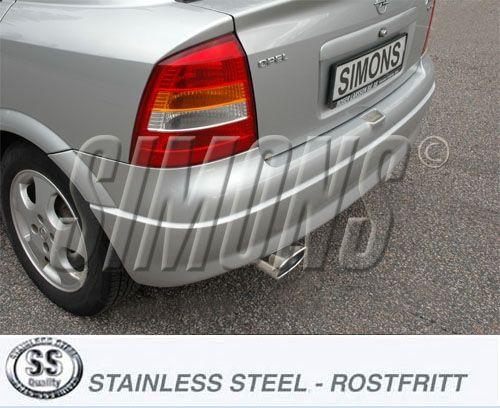 Simons aluminisierte Stahl Auspuffanlage 1x85/150mm oval Opel Astra G Stufenheck/Coupe/Cabrio ab Bj