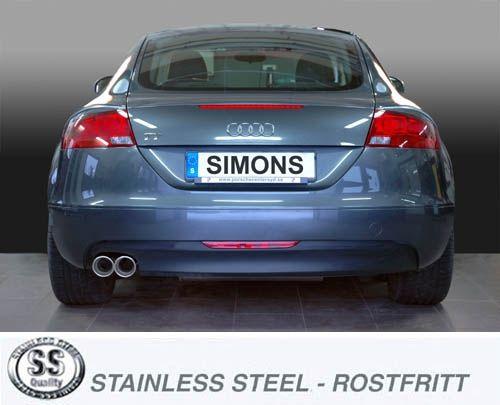 Simons Edelstahl Endschalldämpfer 2x90 mm rund Audi TTS 8J Quattro 2.0T Baujahr 06-