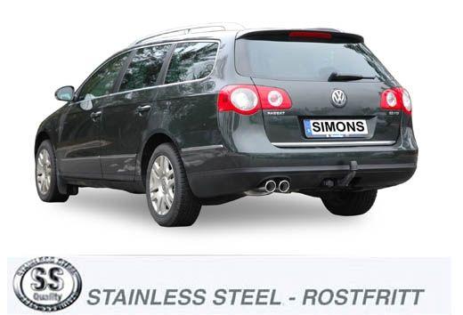 Simons Edelstahl Auspuffanlage 2x80 mm rund für VW Passat (B6) 2.0TFSi/TSi Limousine/Caravan Baujahr
