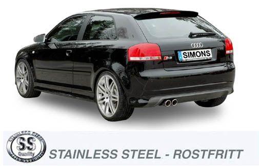 Simons Edelstahl Endschalldämpfer 2x80 mm rund für Audi A3/S3 ( 8P ) Quattro 2.0 TFSi 200/265PS