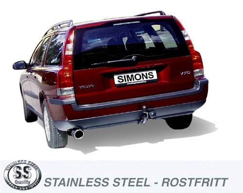Simons Edelstahl Auspuffanlage 1x100mm rund Volvo V70N Turbo 2WD 2.0T/2.4T/2.5T/T5/2.4D/2.5D/D5 Bauj