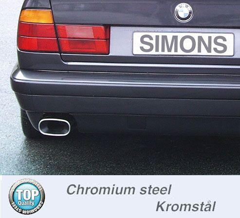 Simons aluminisierte Stahl Auspuffanlage 2x70 mm rund für BMW E28 528i/iA/628csi