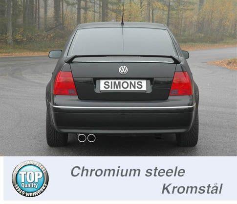 Simons Chromstahl Auspuffanlage 2x80 mm rund für VW Bora 1.8T/1.9TDI/1.9SDI ab Baujahr 99