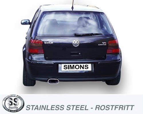 Simons Edelstahl Auspuffanlage 85/150 mm flachoval für VW Golf IV V6 4-motion Baujahr 96-