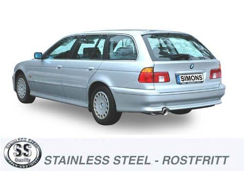 Simons Edelstahl Endschalldämpfer 1x100mm rund für BMW E39 Touring 520i/523i/525i/528i/530i Baujahr