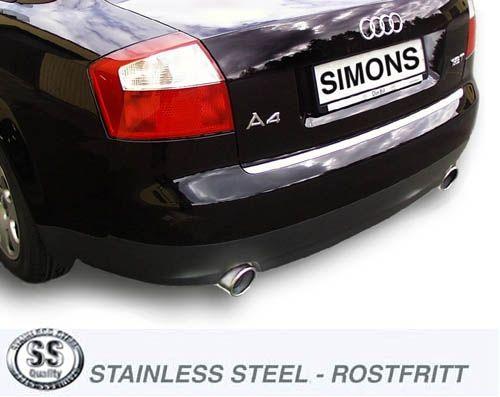 Simons Duplex Edelstahl-Endschalldämpfer je 1x100 mm rund für Audi A4 (B6) Limousine/Avant/Cabrio ni