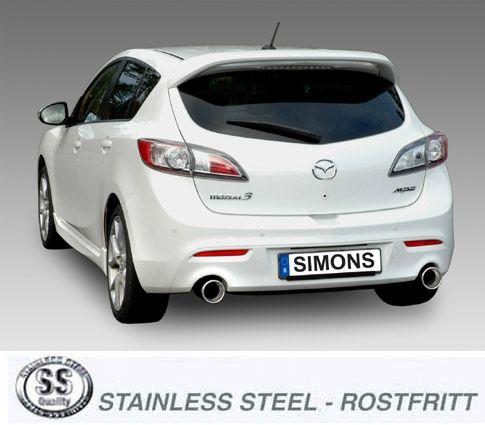 Simons Duplex Edelstahl Auspuffanlage 1x114mm Mazda 3 MPS II Baujahr 09-