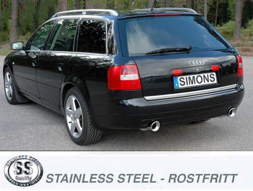 Simons Duplex Edelstahl Endschalldämpfer 2x100 mm rund für Audi A6 (C5) Quattro 1.8T/2.4/2.5TDi/ 2.7
