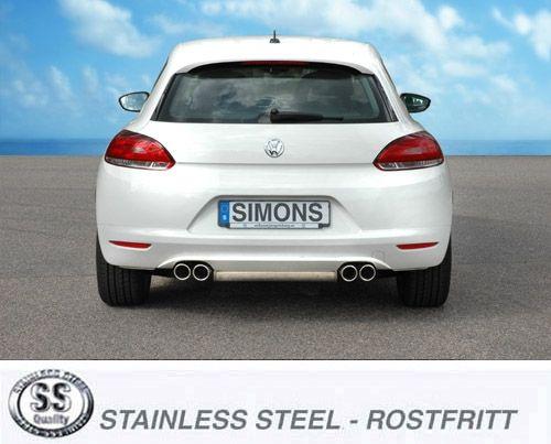 Simons Duplex Edelstahl Auspuffanlage 2x80 mm rund für VW Scirocco 2.0TFSi/1.4TSi Baujahr 09-