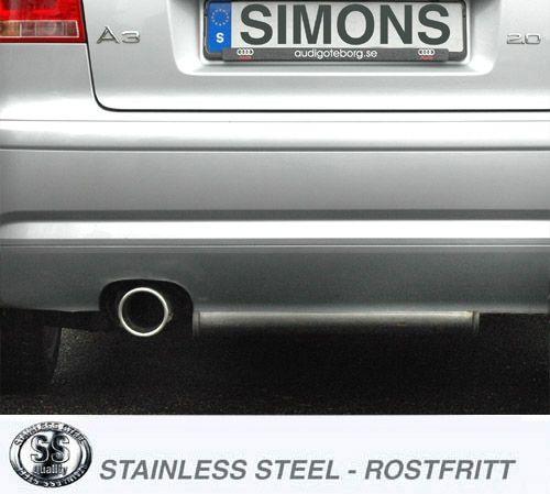 Simons Edelstahlanlage 1x100 mm rund für Audi A3 ( 8P ) 2.0 TFSi 200 PS Baujahr 2004-