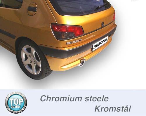 Simons Chromstahl Auspuffanlage 1x100mm rund Peugeot 306 2.0XSi/XS/GTi/Rally
