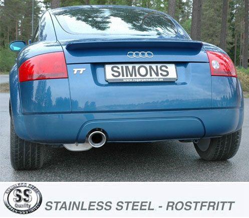 Simons Edelstahlanlage 1x100 mm rund für Audi TT 8N 1.8T 180 PS Baujahr 98-6/06