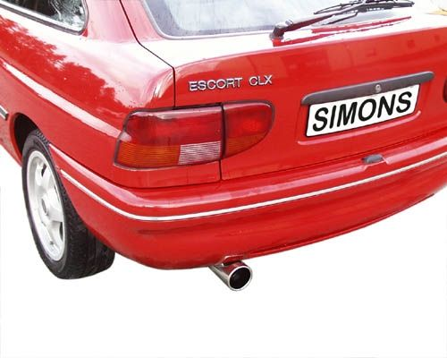 Simons Stahlanlage 1x90 mm rund verstellbar für Ford Escort Coupé 3/5 Türer und Cabrio 1.6/1.8