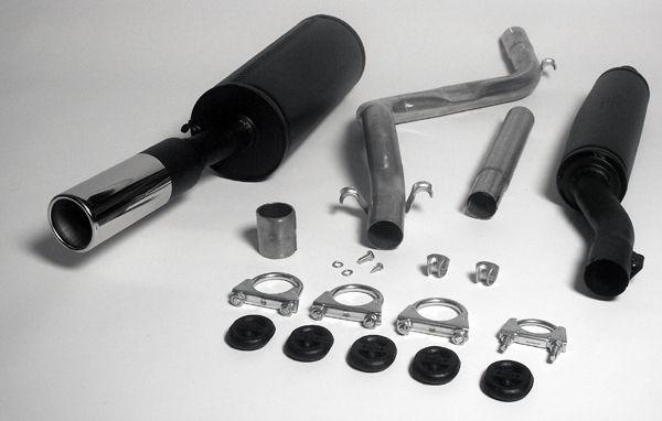 Simons aluminisierte Stahl Auspuffanlage 1x80 mm rund für VW Scirocco I Baujahr 74-83