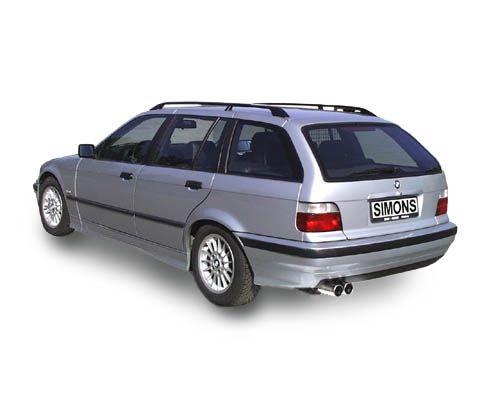 Simons aluminisierte Stahl Auspuffanlage 2x80 mm rund für BMW E36 Limousine/Coupe/Cabrio/Touring 320