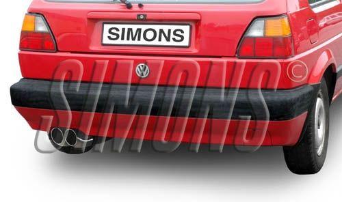 Simons aluminisierte Stahl Auspuffanlage 2x80 mm rund für VW Golf II GTI 16V Baujahr 85-91