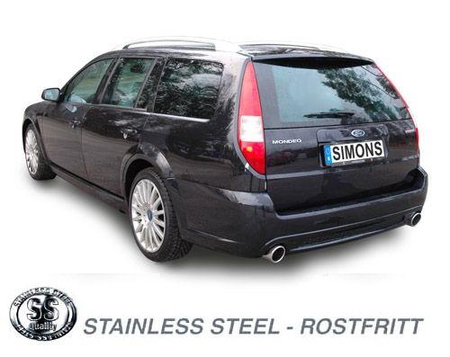 Simons Duplex Edelstahl Auspuffanlage 1x100 mm rund für Ford Mondeo ST 220 Caravan 3.0i V6 Baujahr 0