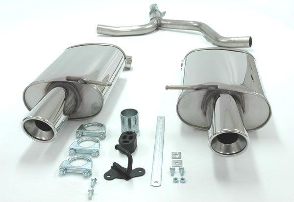 Simons Duplex Edelstahl-Endschalldämpfer je 1x100 mm rund für Audi A4 (B6) Limousine/Avant nicht Qua