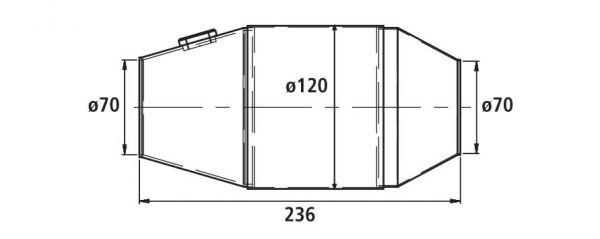 HJS PE - Universalkatalysator 100CPSI Ø 120mm