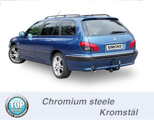 Simons Chromsteel Exhaustsystem 1x100 round Peugeot 406 Estate 2.0i Model 96-