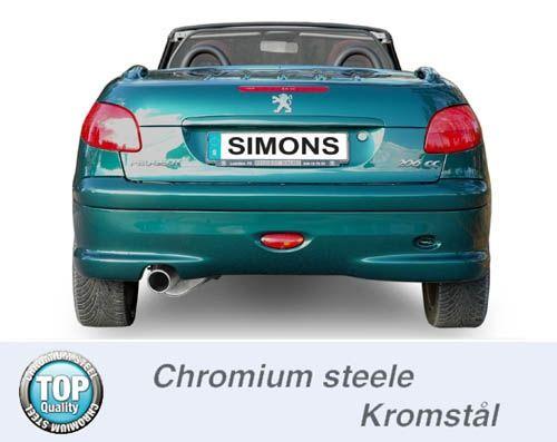 Simons Chromstahl Endschalldämpfer 1x100mm rund Peugeot 206 Fließheck/Cabrio 1.6 Baujahr 01-