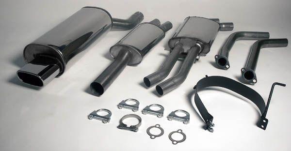 Simons Edelstahl Auspuffanlage 1x85x150 mm flachoval für BMW E46 Limousine/Coupé/Touring 320i/325i/3