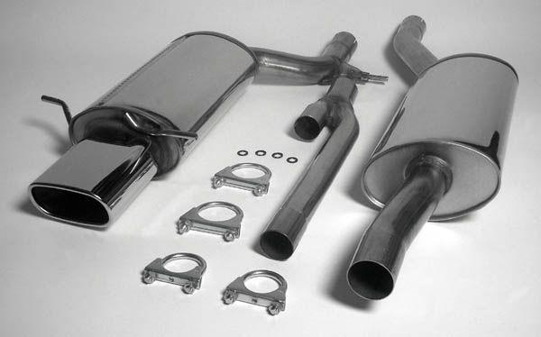 Simons Edelstahlanlage 85x150 mm flach oval für Audi A4 (B5) Limousine/Avant Quattro 2.4/2.5TDI/2.6/