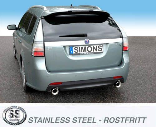 Simons Duplex Edelstahl Anlage 1x100mm rund Saab 9-3X 2.0T XWD Sport Caravan Baujahr 09-