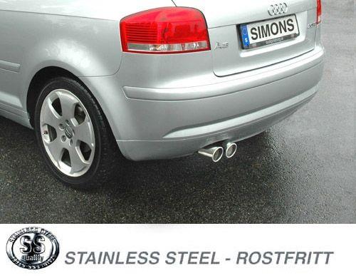 Simons Edelstahl Endschalldämpfer 2x80 mm rund für Audi A3 ( 8P ) 2WD 2.0 TFSi 200 PS Baujahr 2004-
