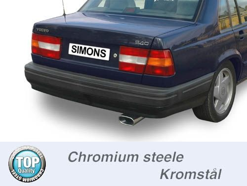 Simons Chromsteel Exhaustsystem 1x85/150mm oval Volvo 740/760 Saloon/Estate Model 92-