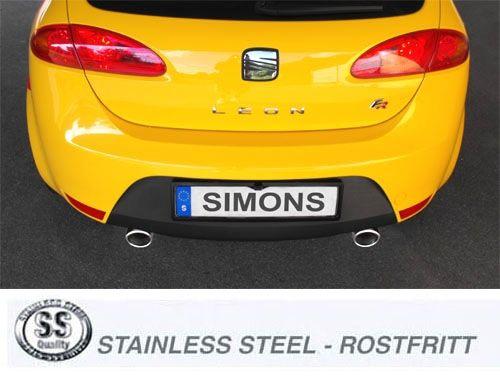 Simons Duplex Edelstahlanlage 1x100mm rund für Seat Leon Cupra 2.0TFSI Baujahr 06-