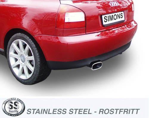 Simons Edelstahlanlage 1x85x150 mm flachoval für Audi A3 ( 8L ) Turbo 1.8T/1.8Ti/1.9TDI Baujahr 96-5