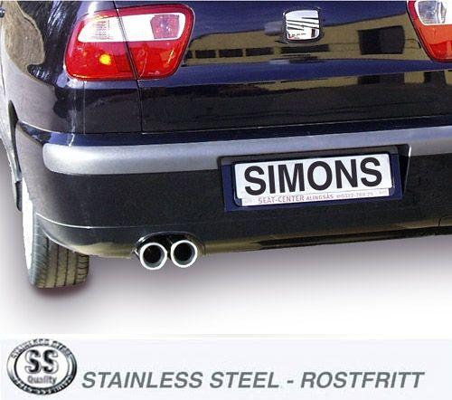 Simons Edelstahlanlage 2x80 mm rund für Seat Cordoba 1.8T Cupra/Turbo Sport 156PS Baujahr 00-02