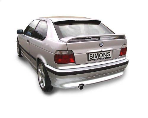 Simons aluminisierte Stahl Auspuffanlage 1x80 mm rund für BMW E36 316i Compact Baujahr 00-