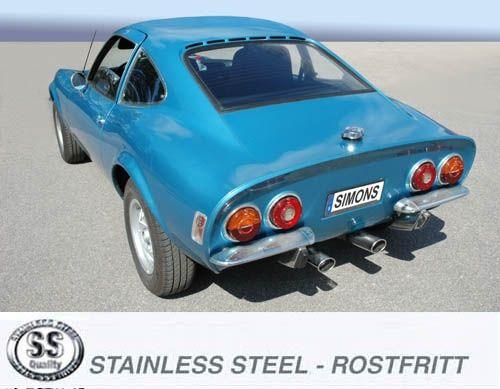 Simons Duplex Edelstahl Auspuffanlage 2x70x90mm oval Opel GT Baujahr 68-73
