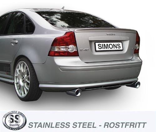 Simons Duplex Edelstahlanlage 1x100 mm rund Volvo S40N/V50 Turbo T5 4WD Baujahr 04-