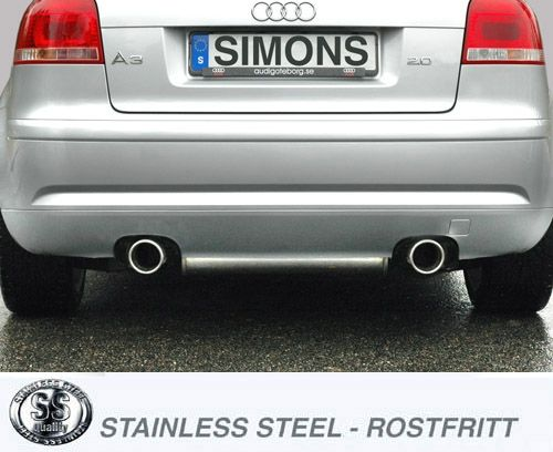 Simons Duplex Edelstahlanlage 1x100 mm rund für Audi A3 ( 8P ) 2WD 2.0 TFSi 200 PS Baujahr 2004-
