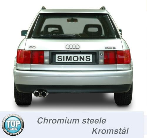 Simons Chromstahl Auspuffanlage 2x80mm Audi 80 B4 Limousine/Avant 1.6/1.9/2.0