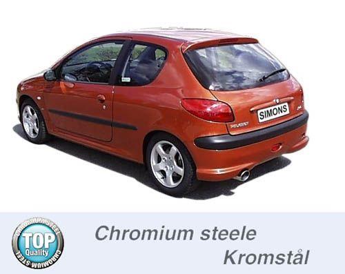 Simons Chromstahl Auspuffanlage 1x100mm rund Peugeot 206 1.4/1.6 XS/2.0GTi Baujahr -00