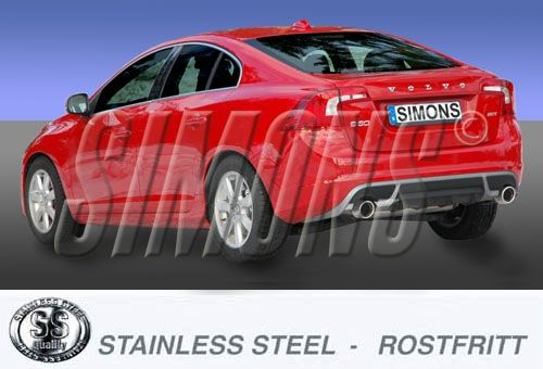 Simons Duplex 3 Zoll Edelstahl Sport Endschalldämpfer für Volvo S60 / V60 T3/T4/T5/T6 2,0T AWD / 2W