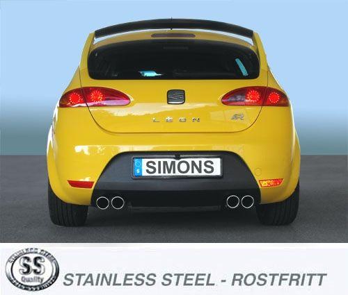 Simons Duplex Edelstahlanlage 2x80mm rund für Seat Leon Cupra 2.0TFSI Baujahr 06-