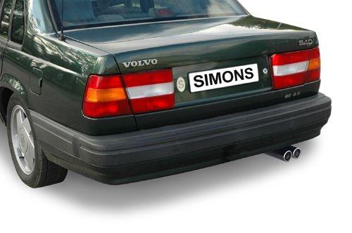 Simons aluminisierte Stahl Auspuffanlage 2x70mm rund Volvo 940 Limousine/Caravan GL/GLE/GLT 8V/16V